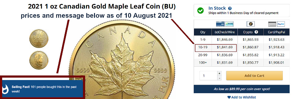 CA gold maple leafs selling for massive premiums in North America