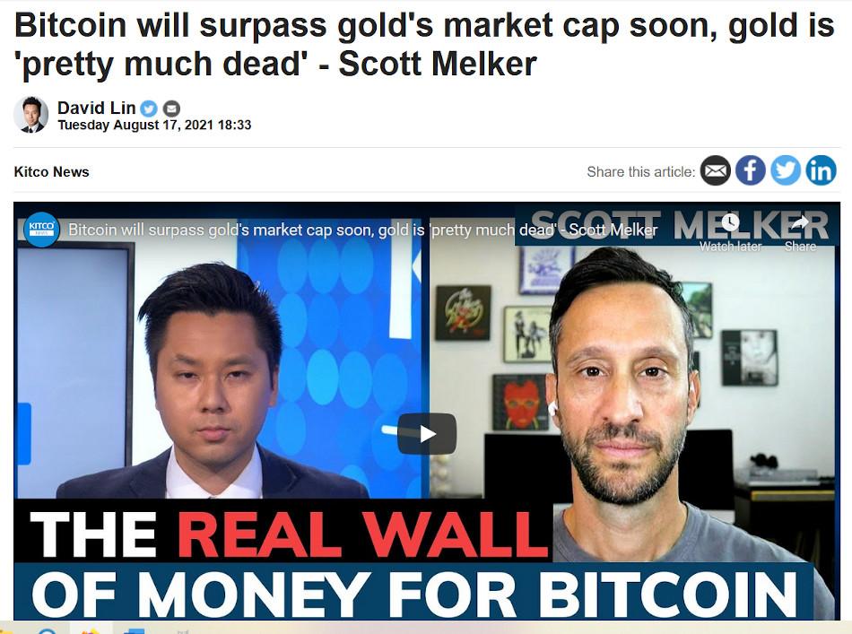 gold is dead, says bitcoin maximalist Scott Melker, but he is dead wrong