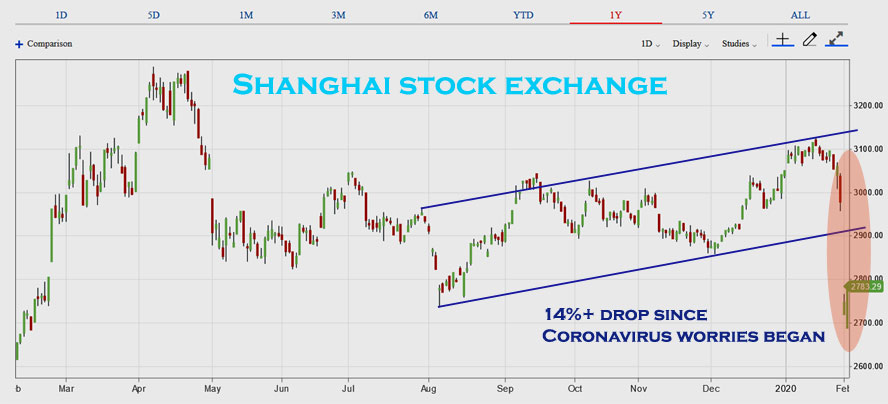 Shanghai stock exchange plunge on Wuhan coronavirus threat