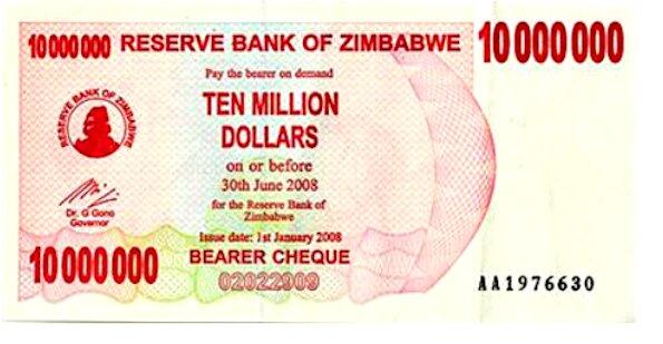 hyperinflation of Zimbabwe dollar